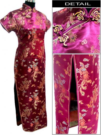 Burgundy  Dragon & Phonix Chinese Dress Evening Gown [CDL-03BY]