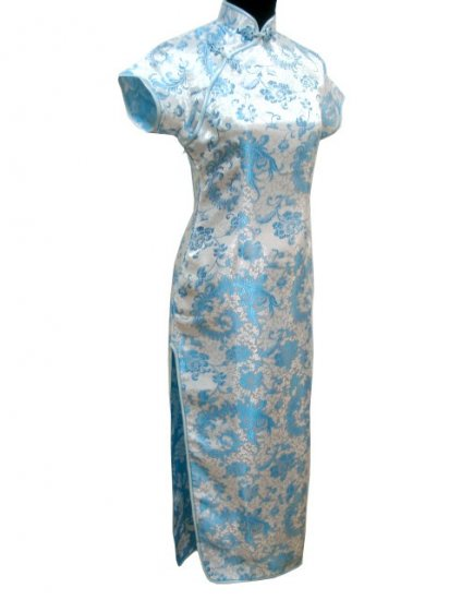 Sky-blue Phenix tail  Chinese Dress Evening Gown  [CDL-04SB]