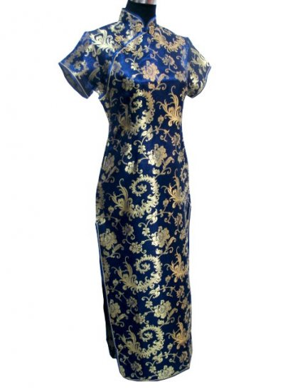 Blue Grace Phenix tail Chinese Dress Evening Gown [CDL-04BE]