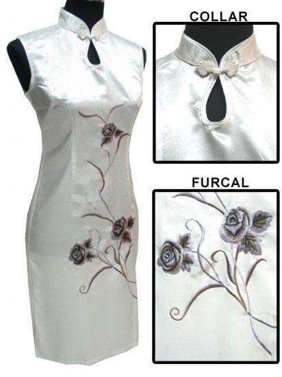 White Chinese Embroider Silk Dress[CMD-05WT]