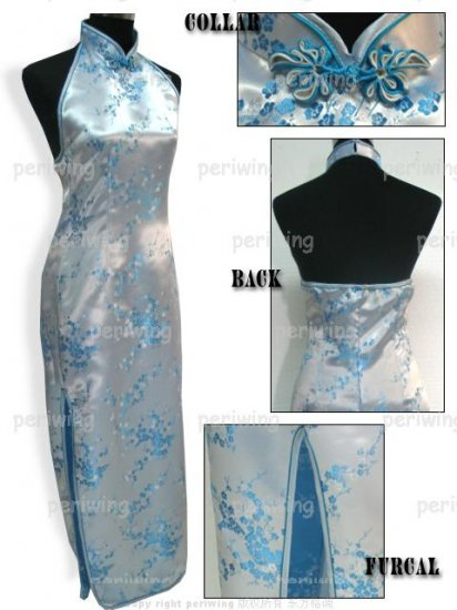 Blue Vogue Chinese Dress Backless Gown[CDL-05BE]