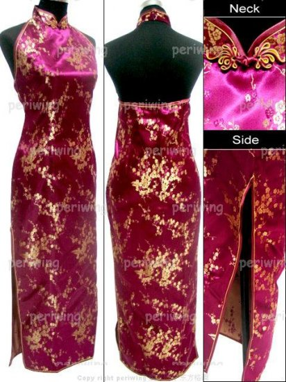 Burgundy Vogue Chinese Dress Backless Gown[CDL-05BY]