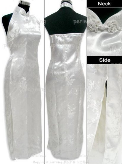 White Vogue Chinese Dress Backless Gown[CDL-05WT]