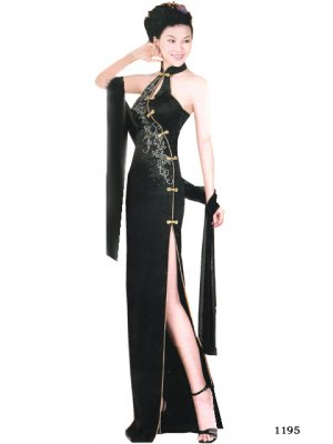 Chinese Tradition Customer Made Embroider Evening Dress [CDC-06]