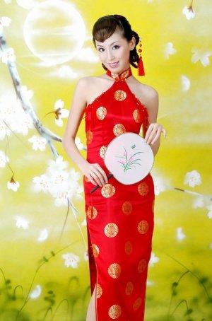 Chinese Red Luck Circinal Pattern Dress Evening/Wedding [CDC-13]