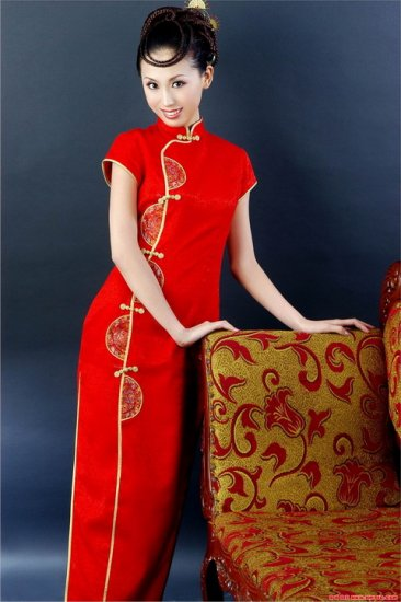 Chinese Luck Pattern Red Dress Evening/Wedding Gown [CDC-15]