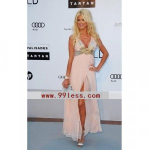 Victoria Silvstedt A-line V-neck Floor-length Sleeveless Chiffon/Cannes Film Festival/Evening Dress
