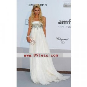 Paris Hilton Empire Strapless Sweep/ Sleeveless Chiffon/Cannes Film Festival/Cocktail Dress