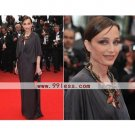 Kristin Scott Thomas Sheath/ Column V-neck Floor-length Cannes Film Festival/ Evening Dress