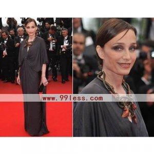 Kristin Scott Thomas Sheath/ Column V-neck Floor-length Cannes Film Festival/ Evening Dress