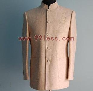 Men's Chinese Jacket with Gold Embroidery Beige
