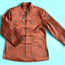Men's Simple Jacket Patterned with Chinese Traditional Icon Coffee