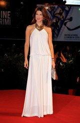 Monica Barladeanu 67th Venice Film Festival Square gap neckline see-through back prom dress