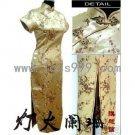 Golden Plum Oblique Lapel Short-sleeved Chinese Long Dress/Chinese Gown/Oriental Style Dress