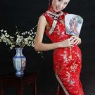Chinese Satin Glod Gragon and Phenix Red/Wedding Chinese Long Dress/Chinese Gown/