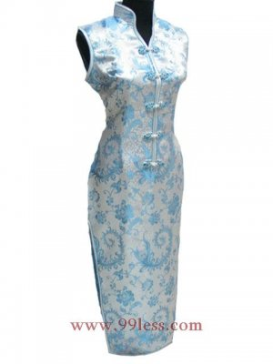 White/Baby Blue Chinese Long Dress/Chinese Gown/Oriental Style Dress
