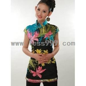 Silk Imitation Printing Chinese Shirt/Oriental Style Dress