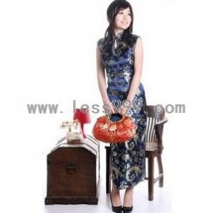Dark Blue Pteris Drip Collar Sleeveless Chinese Long Dress/Chinese Gown/Oriental Style Dress