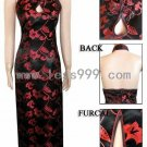 Black Red Morning Glory Drip Revealing Chinese Long Dress/Chinese Gown/Oriental Style Dress