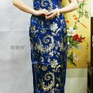 Blue Pteris Oblique Lapel Chinese Long Dress/Chinese Gown/Oriental Style Dress