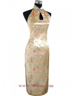 Chinese Satin Golden Chinese Long Dress/Chinese Gown/Oriental Style Dress Backless 9QIP-0124