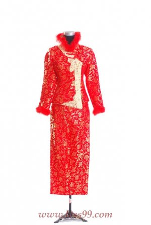 Red/Wedding Chinese Long Dress/Chinese Gown/Oriental Style Dress 9QIP-0273