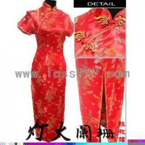 Red Dragon & Phoenix Oblique Lapel Chinese Long Wedding Dress/Chinese Gown/Oriental Style Dress