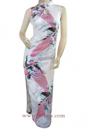 Chinese Silk White Chinese Long Dress/Chinese Gown/Oriental Style Dress 9QIP-0145