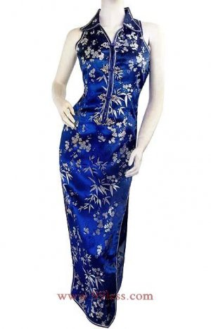 Chinese Satin Prussian Blue Chinese Long Dress/Chinese Gown/Oriental Style Dress 9QIP-0144