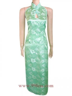 Chinese Green Satin Silvery White Lily Backless/Sleeveless Chinese Long Dress/ 9QIP-0128