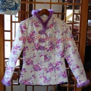 Aristocratic Women's Rabbit Hair Trim Chinese Jacket