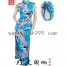 Lake Blue Peacock Silk Imitation Sleeveless Drip Collar Chinese Long Dress/Oriental Style Dress
