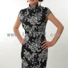 Black Cotton Batik Printing Chinese Mini Dress