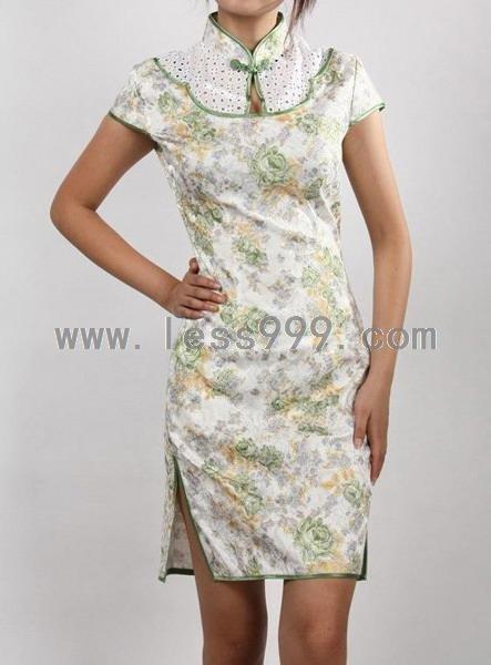 Jacquard Cotton Green Flowers Hollow Drip Collar Chinese Mini Dress