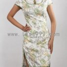 Jacquard Cotton Green Flowers Hollow Drip Collar Chinese Mini Dress