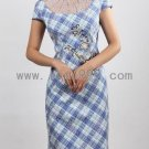 Blue Jacquard Cotton Embroidery Slim Plaid Chinese Mini Dress
