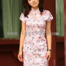Pink Jacquard Cotton Drip Collar Chinese Mini Dress