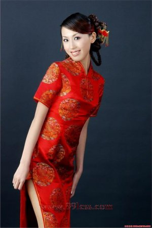 Chinese Satin Red/Wedding Chinese Long Dress/Chinese Gown/Oriental Style Dress 9QIP-0260