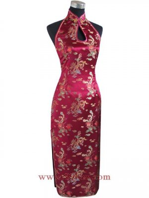 Chinese Satin Burgundy Backless Chinese Long Dress/Chinese Gown/Oriental Style Dress 9QIP-0123