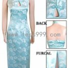 Light Blue Morning Glory Key Hole Chinese Long Dress/Chinese Gown/