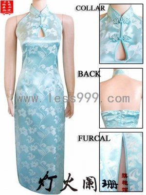 Light Blue Morning Glory Key Hole Chinese Long Dress/Chinese Gown/