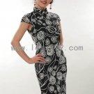 White Cotton Batik Rose Chinese Mini Dress/Chinese Gown/Oriental Style Dress