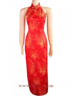 Satin Red/Wedding  Backless/Chinese Long Dress/Oriental Style Dress