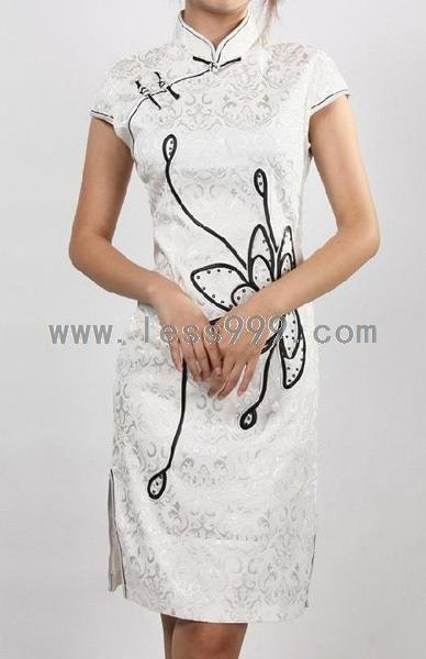 White Fashion New Disk Flowers Chinese Mini Dress/Chinese Gown/Oriental Style Dress