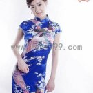 Navy Blue Silk Imitation Chinese Mini Dress/Chinese Gown/Oriental Style Dress