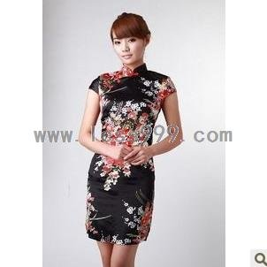 Black Silk Imitation Printing Oblique Lapel Chinese Mini Dress/Chinese Gown/Oriental Style Dress