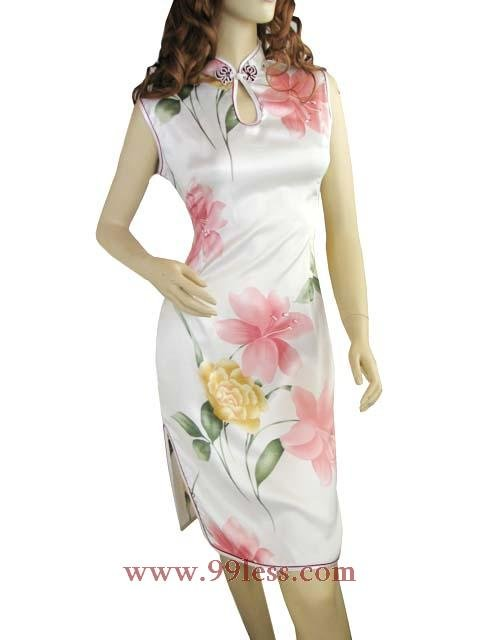Chinese Silk Mini Dress White 9QIP-0315 /Chinese Gown/Oriental Style Dresses