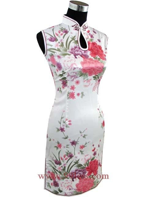 Silk White&Red Flower Chinese Mini Dress 9QIP-0305 /Chinese Gown/Oriental Style Dresses