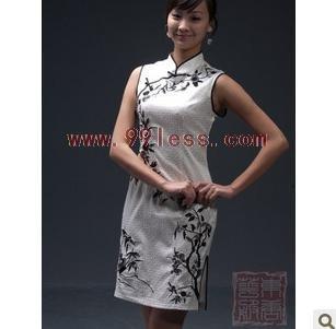 Elegant Ink Painting Peony Chinese Dress White