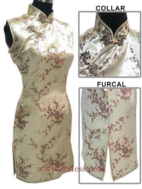 Cute Mini Chinese Dress golden 9QIP-0184